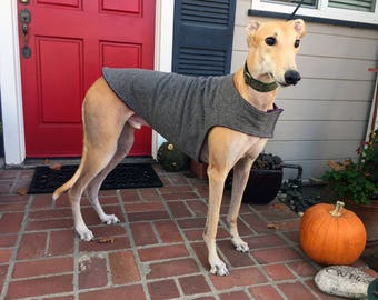 Greyhound Dog Coat, XL Dog Jacket, Charcoal Gray Flannel Herringbone with Plum Fleece Lining