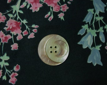 Nice Vintage Pearl Button with 2 Crescent Moons 1 1/16""
