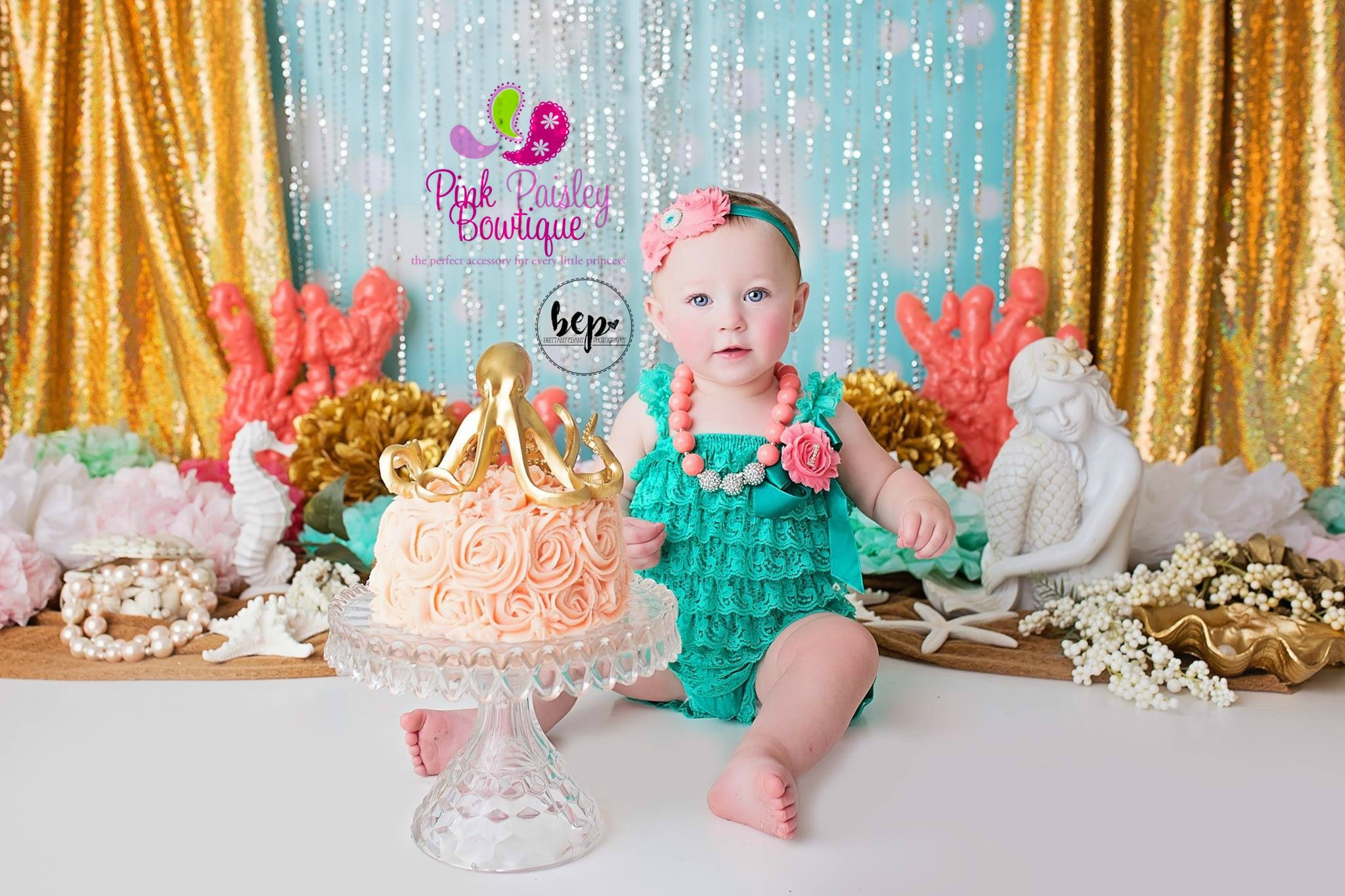 Baby Girl 1st Birthday Dress Cake Smash Outfit Green Baby