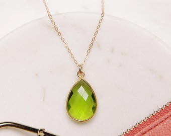 August Birthstone Necklace - Gold drop necklace - Dainty Peridot drop - Delicate gemstone jewelry - Dainty gold necklace - Peridot jewelry.