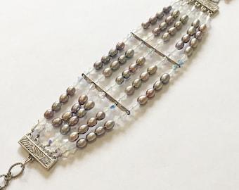 Silver Peacock 5 strand Freshwater Pearl Cuff Bracelet