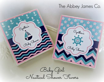 Nautical Baby Shower Favors,  Baby Shower Favors, Soap Favors, Nautical Girl, set of 10 Soap Favors