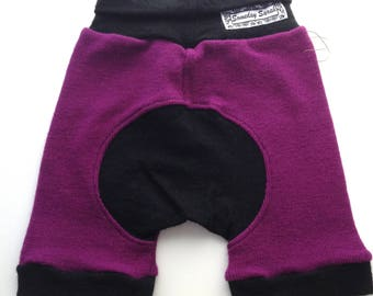12 - 36 months - Eggplant Ribbed Wool Shorties Jecaloones - Size 1 Shorts