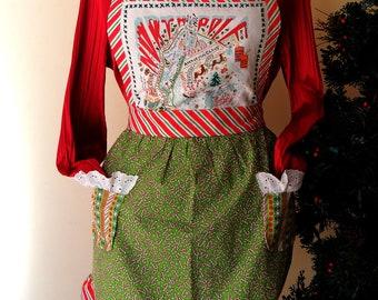 OOAK apron, Christmas apron, full apron, cottage chic apron, upcycled apron using upcycled  Cats Studio 2010 towel on the bib.