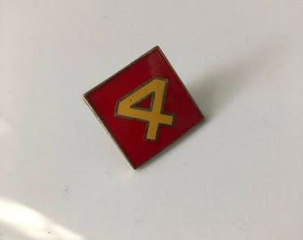 Vintage 4 enamel pin, number 4 diamond shaped pin