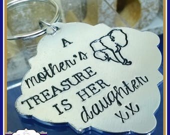 Mother Daughter Keyring - Elephant Keyring - A Mother's Treasure Is Her Daughter - Mother Daughter Gift - OWN WORDING - Elephant Gift