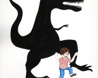 Art Print Illustration Watercolor - Boy Pretends to be Dinosaur, creative imagination, shadow dinosaur, Open Edition 8x10