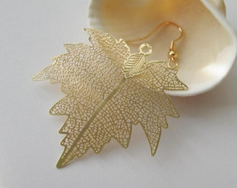 2 Pcs - Gold Plated Over Copper Laser Cut Filigree Maple Leaf Earring Findings,Pendant,Earrings,Jewelry Findings,Links (45x41MM) SL0995