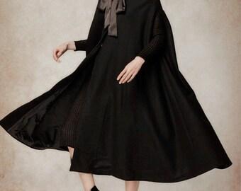 Black Wool Hooded Cape, Maxi Hooded Cloak, Winter Coat Jacket, Cashmere Wool Coat Jacket, Black Cloak. Cloak Cape, Long Hooded Cloak