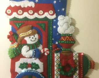 """Bucilla Felt ALL ABOARD 16""""  Christmas Stocking Completed"""