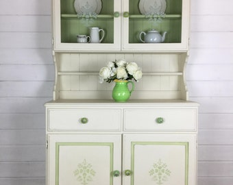 Welsh Dresser, Cream, Sage Green, Farmhouse, Shabby Chic, Vintage, Stencils