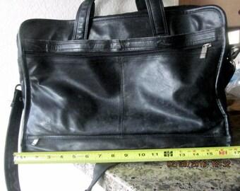 Black leather briefcase attache bag zippered compartments handles shoulder strap vintage