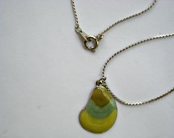 Tri Color Abalone Shape Pendant Necklace
