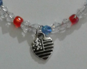 Made in USA Heart Charm on Beaded Bracelet with Lobster Claw Clasp