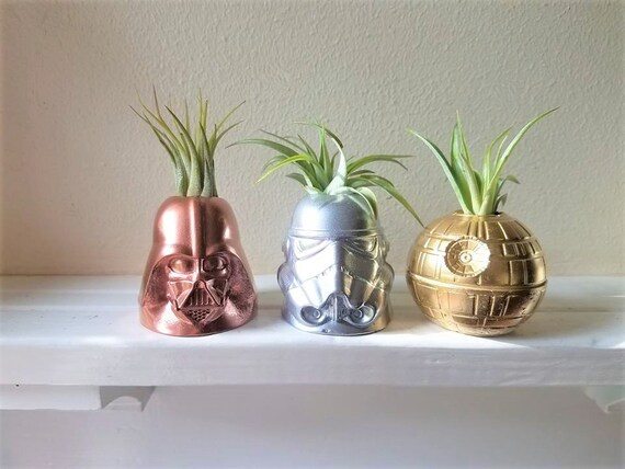 Metallic Star Wars inspired planter, gift set, Storm trooper, Darth Vader air plant holders, death star desk planter, geek chic, nerdy gift