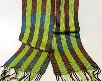 Handwoven Rayon and Tencel Scarf, Rayon Scarf, Tencel Scarf, Woven Scarf, Handwoven Scarf, Hand-dyed Scarf (#17-04B)