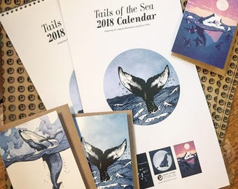 Whale Calendar 2018 - Sea themed illustrated calendar featuring Humpback, orca, dolphin, ocean, blue planet art. Large A3 Calendar for 2018