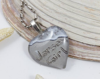 Jersey Girl Beach Writing Heart Shaped Necklace from the Jersey Shore