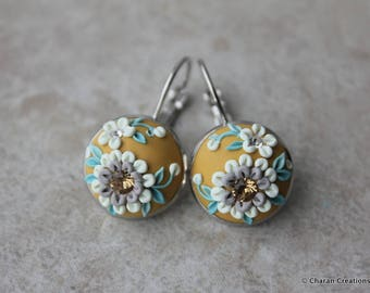 Gorgeous Polymer Clay Applique Statement Earrings in Mustard and White