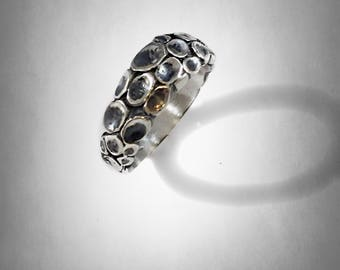 Octopus arm Texture Solid Sterling Silver 925  Ring