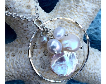 Multi Pearl Necklace on Sterling Silver