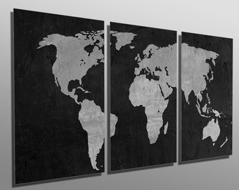 World map triptych etsy metal print black and gray world map gumiabroncs Image collections