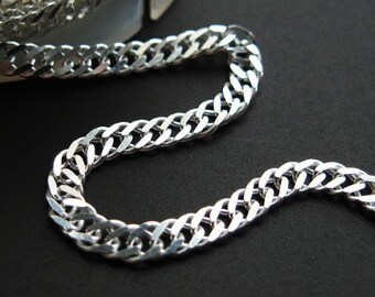 Sterling Silver Curb Chain-Unfinished Bulk Chain-Double Diamond Cut Curb Chain-3 by 5mm(up to 30% off)-Jewelry Supplies Wholesale-SKU:101035