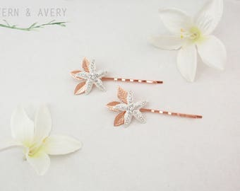 Rose gold crystal starfish hair pins. 2 starfish bobby pins. Beach wedding rose gold hair clips