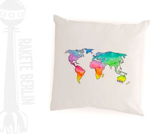 cushion cover cotton 'world map -watercolor'