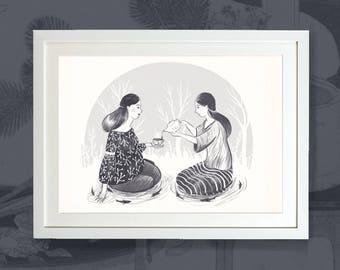 Tea Magic - Black and White Greyscale Art Print Illustration Inspired By Japanese Tea Ceremony by Emmeline Pidgen Illustration