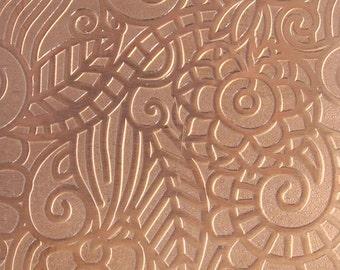 "Patterned Copper Sheet ""Paisley Garden"" 2"" x 6"" (choose 18 thru 24ga)  (CSP43XX)"