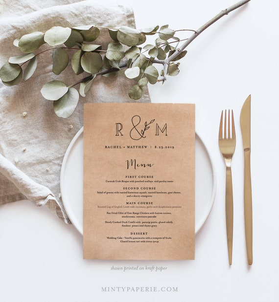 Printable Wedding Menu Template, INSTANT DOWNLOAD, 100% Editable Text, Dinner Menu Card, Rustic Monogram, Kraft Paper, 2 Sizes #042-128WM