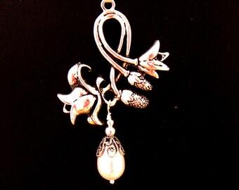 Art Nouveau Jewelry,  Flower Branch Pearl Necklace, Art Nouveau Necklace, Romantic Bridesmaids Gift - Bridal Wedding Jewelry, Corn Flower