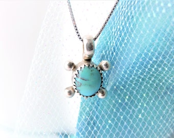 Turtle Turquoise Necklace Sterling Silver, Small Pendant Necklace