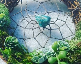 """WildBean Bright Blue Jade Succulent and Moss Dreamcatcher 5"""""""