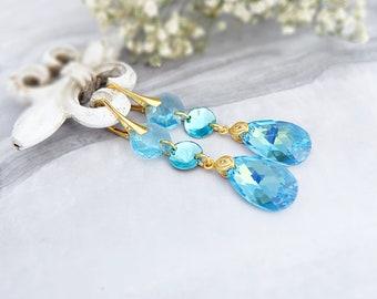Aquamarine earrings, Wedding earrings, Bridesmaids gift, Blue aqua earrings, Swarovski earrings, Long crystal earrings, Chandelier earrings