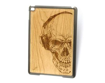 iPad Air case, iPad Mini case, iPad Mini 2 case, iPad 3 case, iPad engraved case, custom iPad case,Headphone Skull wood engraved case