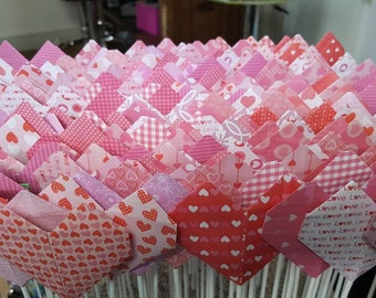 Quilting origami hearts