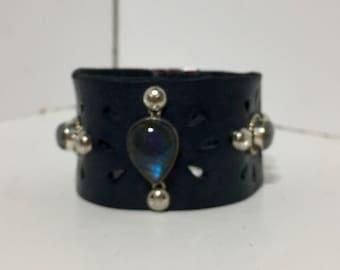 Handmade Blue Leather Cowgirl Cuff Labradorite