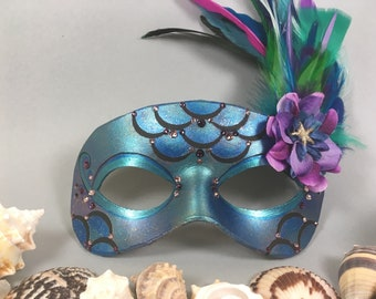 Teal, Blue, and Purple Mermaid Inspired Leather Masquerade Mask