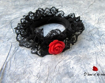 Darling 1 elastic Black Lace and red rose
