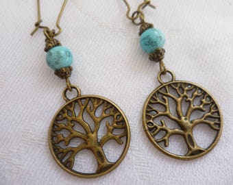 Tree of life earrings,tree earrings,tree of life jewelry,wiccan jewelry,pagan,turquoise,gift,handmade,small bronze tree earrings,minimalist