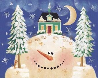 Snow Hill 1 Folk Art Print