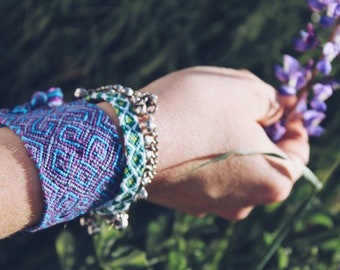 handmade custom woven friendship bracelet. black. blue. silver. cotton. knotted. holiday. festival fashion. gifts for girls. boys. women.