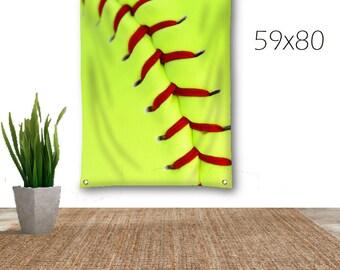 Softball Tapestry-Softball Wall Decor-Canvas Tapestry-Sports Wall Decor-Wall Hanging-Sports Tapestry-Dorm Wall Decor