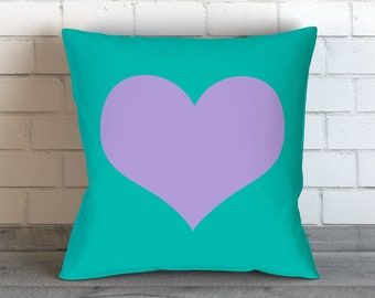Turquoise Pillows Teal Pillows Blue Throw Pillow Covers Home Decor Teal Purple Heart Pillow Cushion Decorative Pillow Bedding Throw Pillow