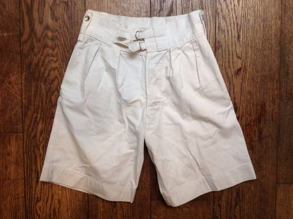 Vintage 1940s 40s WW2 white cotton British army gym long shorts button fly baggy summer high waist 28""