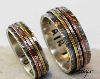 Couples Rings - Wedding Ring Set - Handmade oxidized sterling silver Bands - Personalized - Custom - Hammered - Handmade