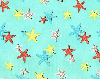 A Sea of Stars Fabric - Michael Miller Fabric - Starfish Beach Fabric - Michael Miller Discontinued - Bright Quilt Fabric - Ocean FIsh Retro