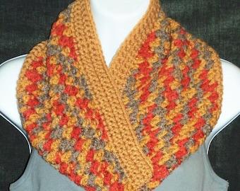 Textured Crochet Cowl - Multi Color Cowl - Autumn Print